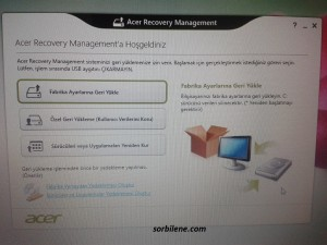 Acer Recovery Management turkce
