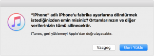 iPhone, iPad veya iPod recovery format atma