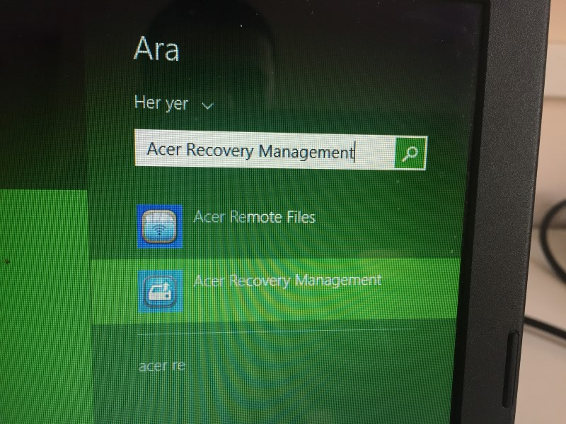 Recovery manager windows 8 acer