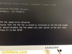 Asus Anakart CPU Fan Speed Error Detected hatasi